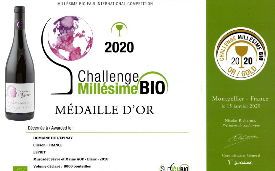 Esprit 2018 : Médaille d'Or à Millésime BIO 2020